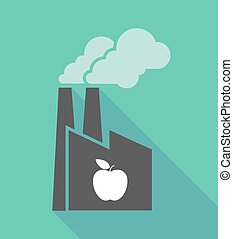 Factory icon with an apple