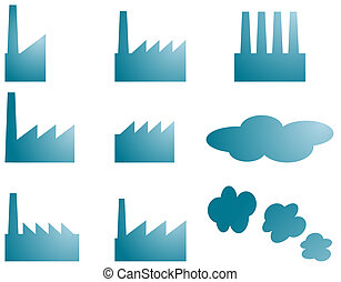 Factory icons - Icon set of factory industry illustration...