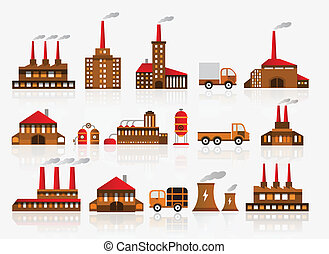 Factory icons - vector
