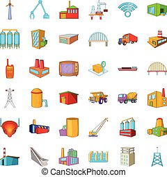 Factory icons set, cartoon style