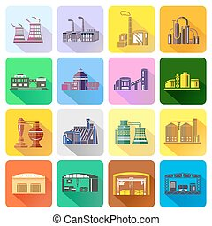 Factory icons set in flat style