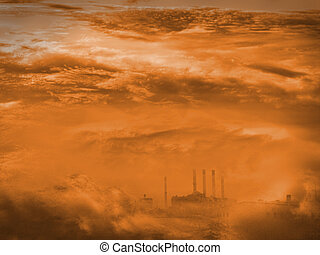 Factory in clouds