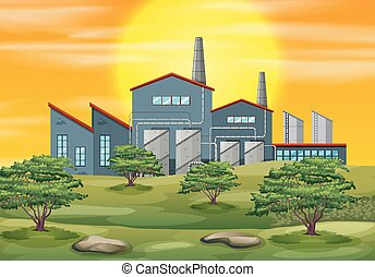 Factory in nature scene