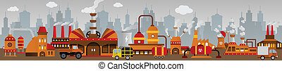 Factory in the city - Vector illustration of simple colorful...