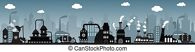 Factory in the city (night)
