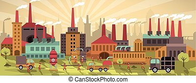 Factory in the city (retro colors) - Vector illustration of...
