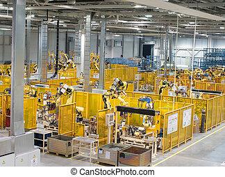 Factory indoor - Modern factory, indoor hall ,workshop