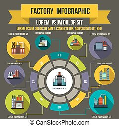 Factory infographic elements, flat style