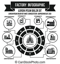 Factory infographic elements, simple style