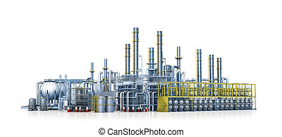 factory, Isolated on white background. 3d illustration