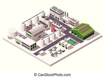 Big factory industrial isometric composition on white background 3d vector illustration