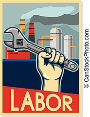 Factory Labor Poster In Beige Color - Factory labor pop art ...
