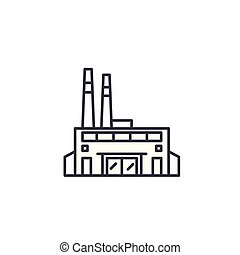 Factory linear icon concept. Factory line vector sign, symbol, illustration.