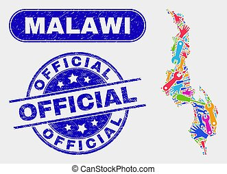 Factory Malawi Map and Distress Official Watermarks