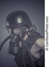 Factory, Man with black gas mask, pollution concept and ecological disaster