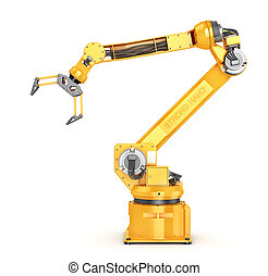 Factory manipulator. Automatic hand for conveyor. 3d ...