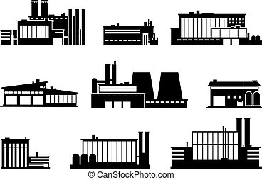 Factory, manufacturing plant and warehouse black silhouette icons isolated