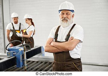 factory., metalworking, feltevő, öregedő, konstruál