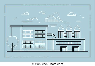 Factory - modern line design style vector illustration