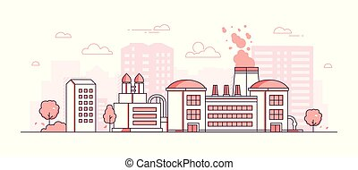 Factory - modern thin line design style vector illustration