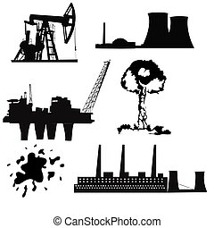 Factory, oil drilling, nuclear power plant and energy icons