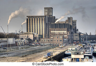 Factory - Old factory in Rotterdam harbor area