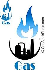 Factory pipes with blue flame of natural gas