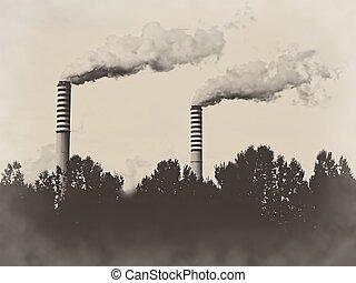 Factory plant stacks chimneys sepia