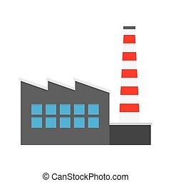 Factory producing oil and gas, building icon.