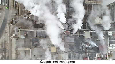 looking straight down from an aerial view at a factory