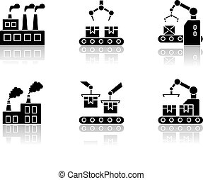 Factory production drop shadow black glyph icons set