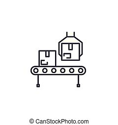 Factory production line linear icon concept. Factory production line line vector sign, symbol, illustration.