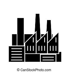 factory - production - pipes with smoke icon, vector illustration, black sign on isolated background