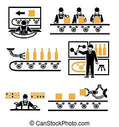 Factory production process icons set. Technology machine, process industrial, manufacturing work, vector illustration
