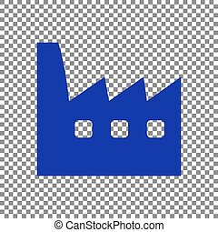Factory sign illustration. Blue icon on transparent background.