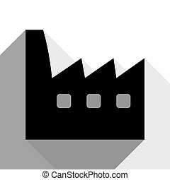 Factory sign illustration. Vector. Black icon with two flat gray shadows on white background.