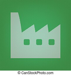 Factory sign illustration. white icon on the green knitwear or w