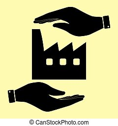 Save or protect symbol by hands. - Factory sign. Save or...