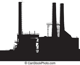 Factory Silhouette - Factory with Smokestacks Silhouette
