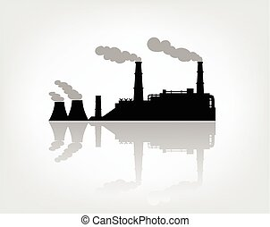 factory silhouette on the white background