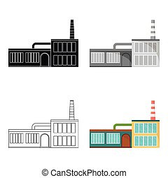 Factory, single icon in cartoon style.Factory, vector symbol stock illustration web.