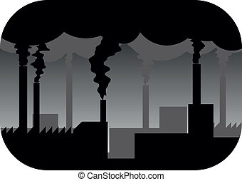 factory smog - illustration of industry plant with pollution