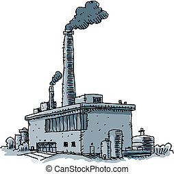 Factory - Smoke billows from the smokestacks of a cartoon...