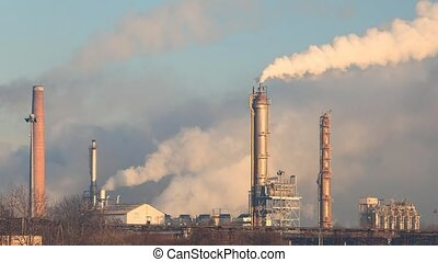 Factory Smoke stack - Oil refinery