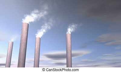 """""""Factory smoke stacks, chemical release. """" - """"Computer ..."""