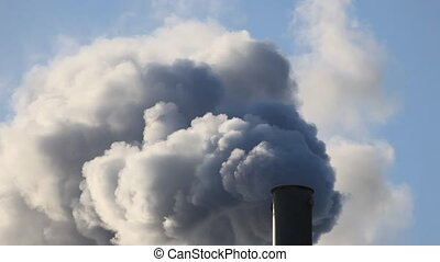 Factory smokestack - Factory smokestack blowing fume into...