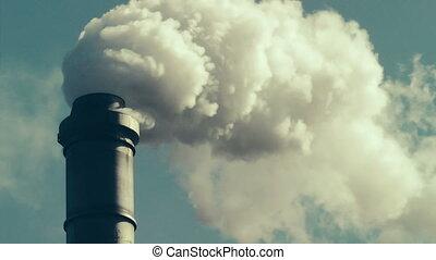 Factory Smokestack - Fumes billowing out of smokestack,...