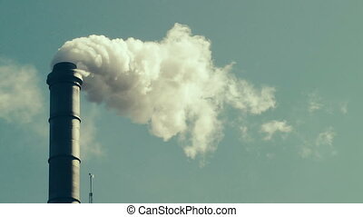 Factory Smokestack - Fumes billowing out of smokestack,...