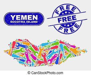 Factory Socotra Island Map and Distress Free Watermarks