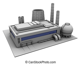 factory - 3d illustration of industrial building, factory...